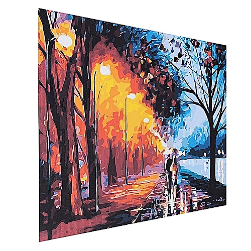 """16X20"""" 40x50cm DIY Paint By Number Linen Oil Painting Canvas Night Street Lamp"""