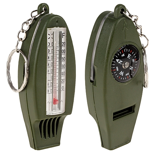 Epath 4-In-1 Outdoor Multifunctional Survival Whistle + Compass + Magnifying + Thermometer For Camping With Key Ring