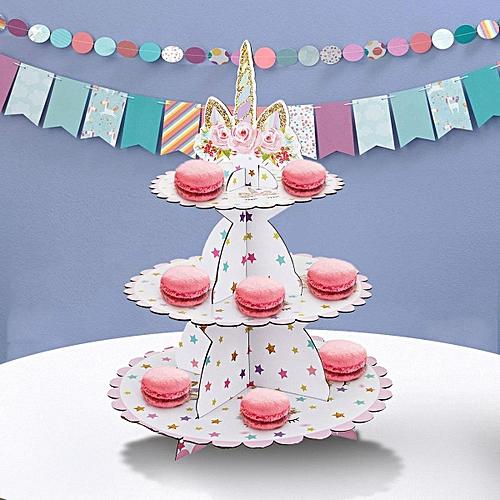 3-tier Cake Stand Unicorn Baby Shower Supplie Kids Birthday Party Decor