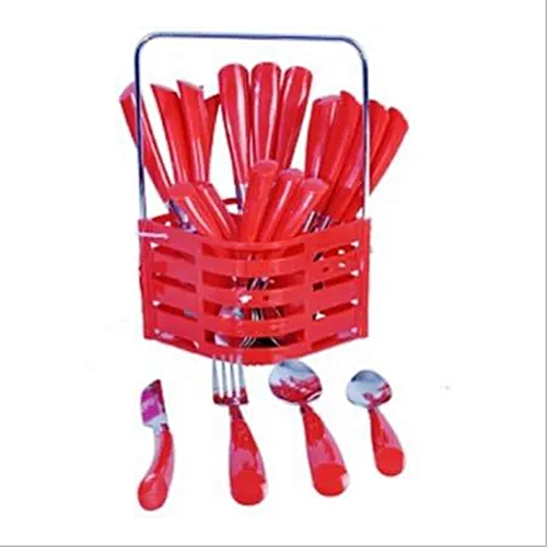 24 Piece Cutlery Set - Red