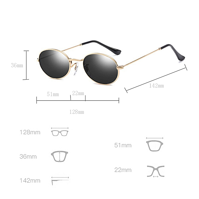 15ca2e5303 Small Oval Sunglasses Small Size Men Male Round Metal Frame Sun Glasses For  Women Mirror Uv400-Gold With Black