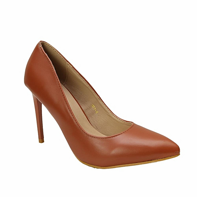 Michelle Pointed Toe Pumps With Pencil Heels - Brown