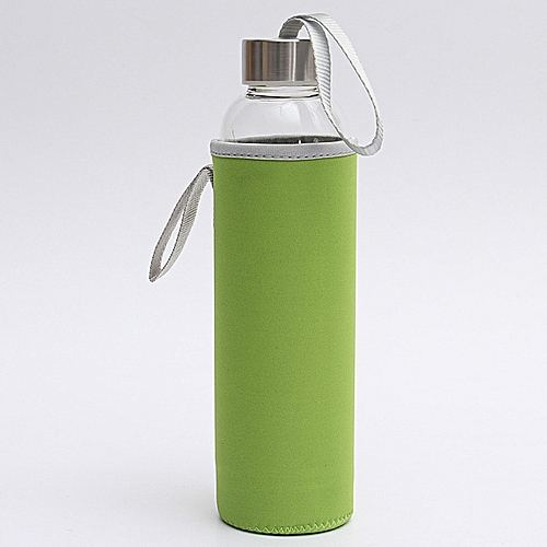 BPA Glass Water Bottle Filter Infuser Protective Bag 550ml Green