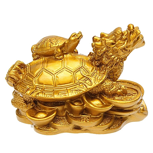 Gold Resin Feng Shui Dragon Turtle Tortoise Statue Figurine Coin Money Wealth