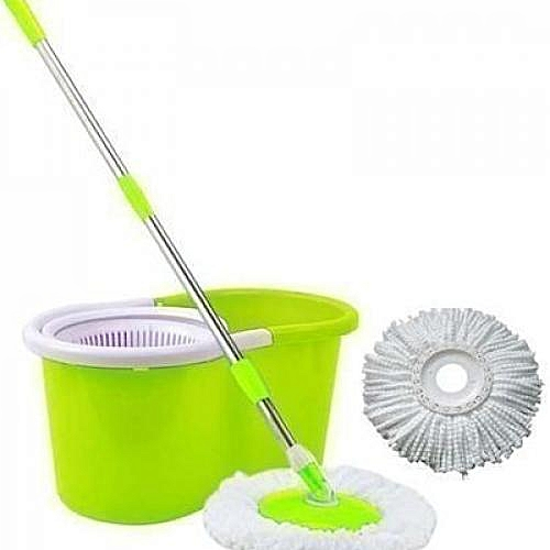 Extendable Spin Mop And Bucket With Double Mop Head