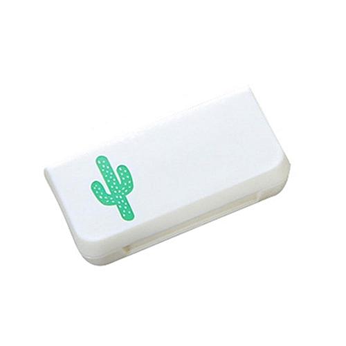 Mini 3 Grids Pill Case Portable Medicine Box Multi-styles Storage Container(Cactus)