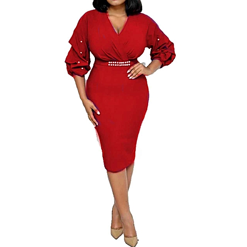 Beaded Sleeve Midi Dress - Red