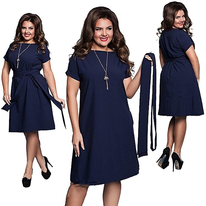 c4c55c55006 Fashion Style Women Casual O-neck Solid A-line Plus Size Dress Slim Short