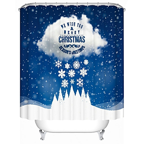 Dtrestocy Custom Merry Christmas Fabric Waterproof Bathroom Shower Curtain 72x 72