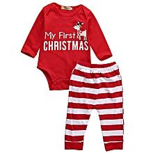 4ac7d064e Red Kid Christmas Newborn Baby Outfits Clothes 2Pcs Deer Romper+ Pants  Sport Pants Set Suit