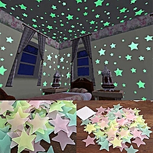 3D Glow In The Dark Stars Ceiling Wall Stickers 4.6cm (Colorful)