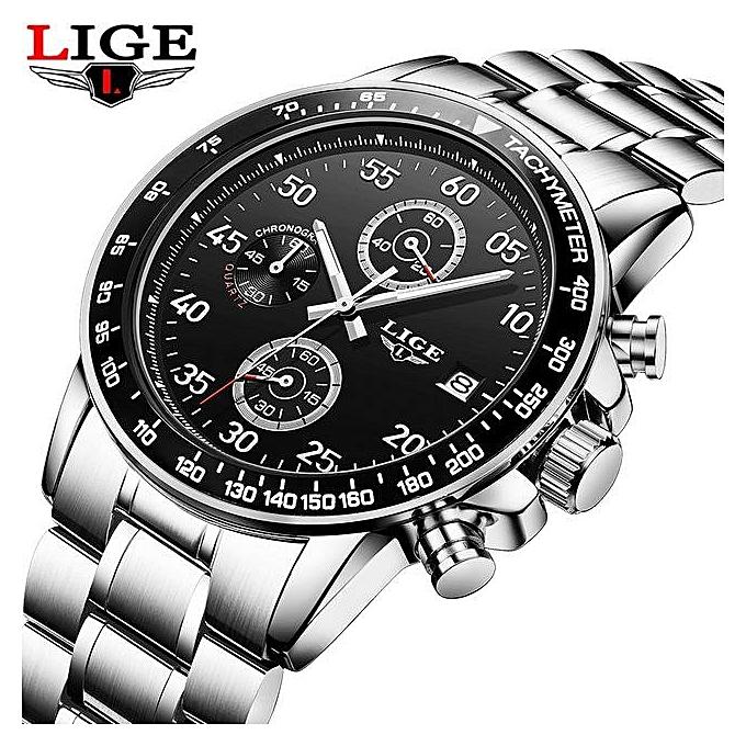 b7384ce988e Relogio Masculino LIGE Watches Men Luxury Brand Six Pin Military Sport  Quartz Watch Men Waterproof Wrist