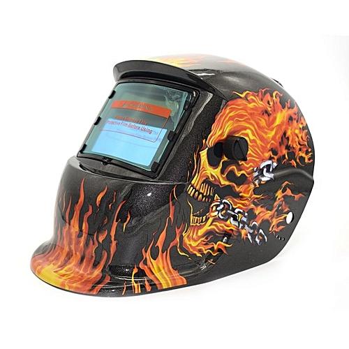 Solar Powered Auto Darkening TIG MIG MMA Electric Welding Mask Welder Cap Dark Gray & Red