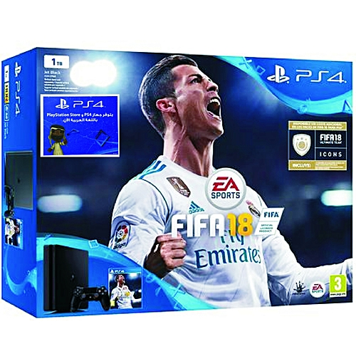 PS4 1TB Console + 1 Extra Dual Shock 4 Controller + FIFA 18 + PS Plus 14 Day Voucher