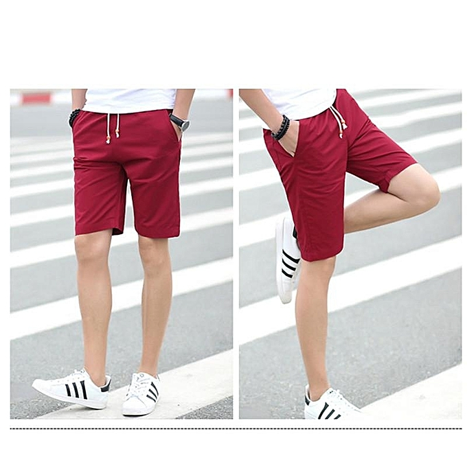 ada6360cd Red Men Short Hot Fashion Men Short Pants Summer Casual Men Shorts Solid  Elastic Shorts