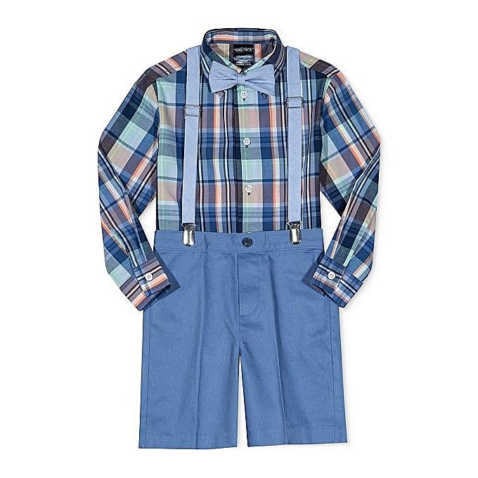 a9c2504d72f Little Boys Suit Set 4-Piece Bow Tie, Plaid Shirt, Suspenders & Shorts