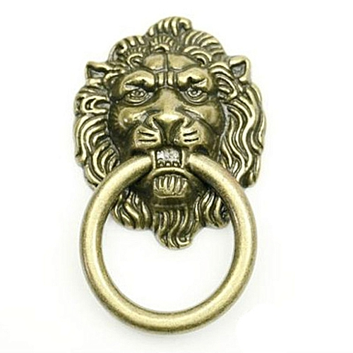 European Rural Style Lion Head Knob With Ring.
