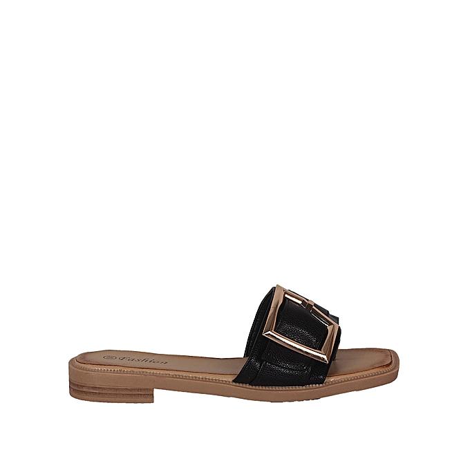 ad206e8eff65a Ladies Belt Buckle Slippers - Black Ladies Belt Buckle Slippers - Black ...