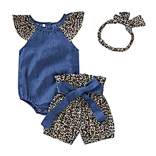 edee564946fc3 Baby Girls Clothes Romper Tops+Shorts+Headband Outfits Sets