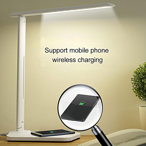LED Table Lamp Dimming Desk Lamp With QI Charger USB Output Port Adjustable Light Flexible Modern Office Table Light
