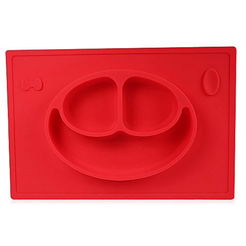 Non-slip Silicone Baby Placement Plate Mold Tray Smile Face - Red
