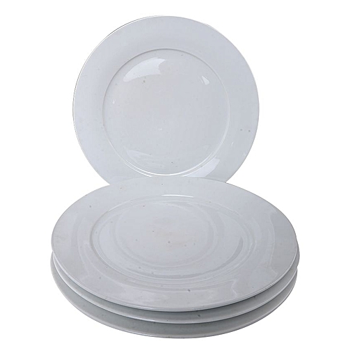 Elegant Dining Plates - 4 Pieces - White