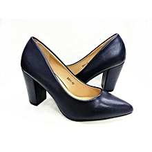 Pointed Lady Block Heel Covered Shoe - Navy