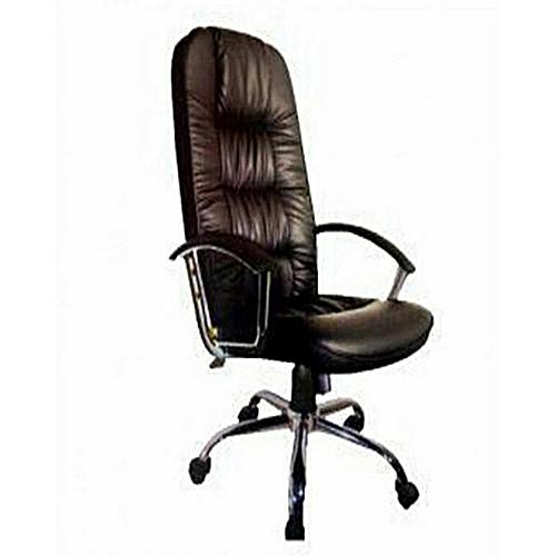 Universal Executive Leather Directors Chrome Office Chair (Elite) - Black