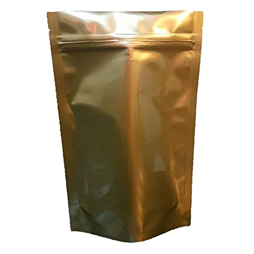 50pcs Resealable Stand Up Ziplock Pouch Packaging With Gold Back And Transparent Front
