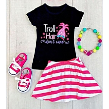 76358048 Children'S Summer Girl Short Sleeve T-Shirt Blouse + Striped Skirt