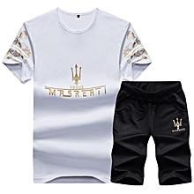 130b7adb99843 2 Piece Set Fashion Men  039 s Short Sleeve Shorts