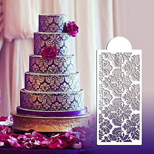 Baking Tool Side Decor Mould Damask Lace Flower Border Fondant Cake Stencil