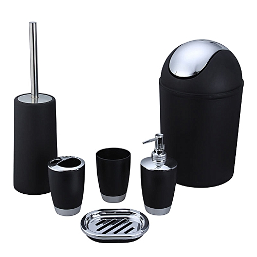 6PCS Bathroom Accessory Set Washing Tools Lotion Bottle Mouthwash Cup Soap Dish Toothbrush Holder Waste Bin Toilet Brush Household Articles