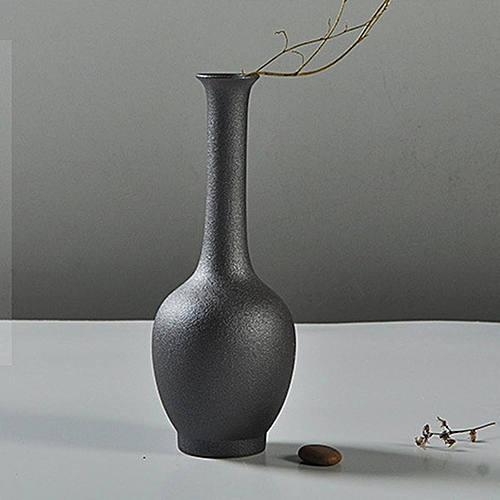 Ceramic Flower Vase Porcelain Black Home Office Modern Decor Art Crafts Vase