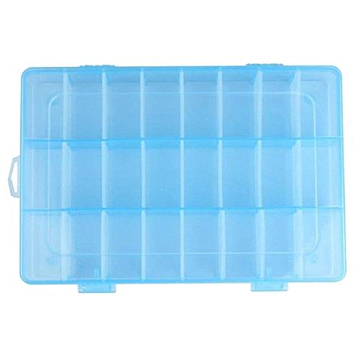 Adjustable 24 Compartment Slot Plastic Craft Storage Box Jewellery Tool Container Organiser Blue