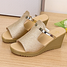 3b5b83daada Ladies Wedge Sandals Slippers Classic Design Open Toe Shoes - Gold