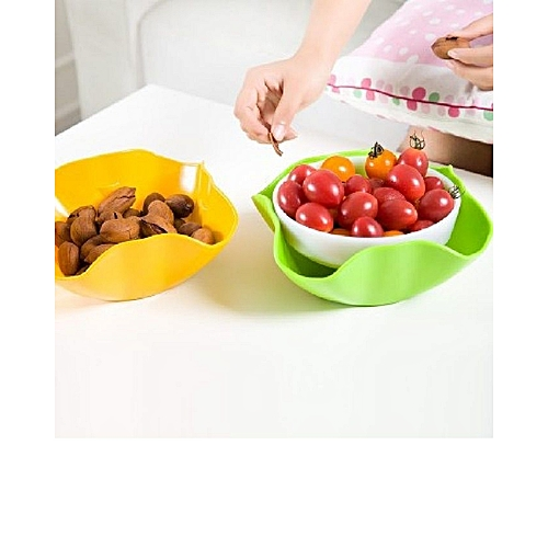 Double Dish For Pistachios, Peanuts, Edamame, Cherries, Nuts, Fruits, Candies, Snacks Plastic Serving Dishes And Bowls