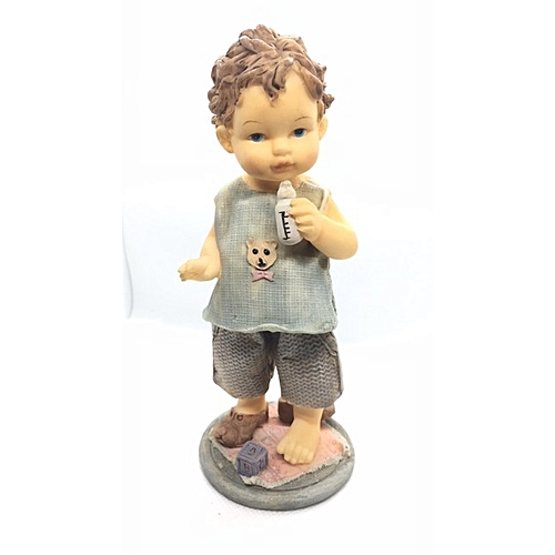 Figurine : Boy In Blue Holding A Milk Bottle