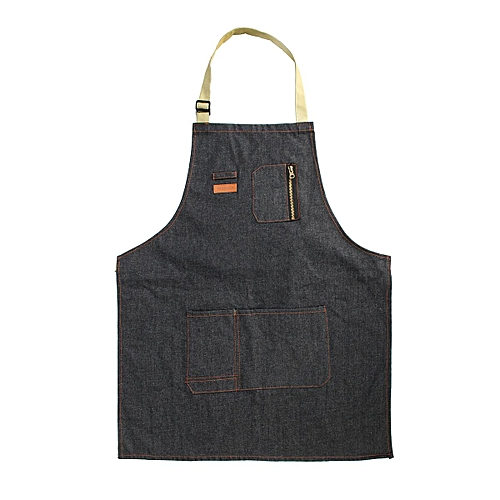 Coffee Shop Working Denim Apron Barista Pockets Soldering Chef Barber Work Wear (Long)