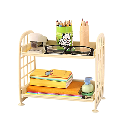 Braveayong Double Layer Cosmetic Storage Rack Kitchen Bathroom Organizer Plastic Plate -Beige