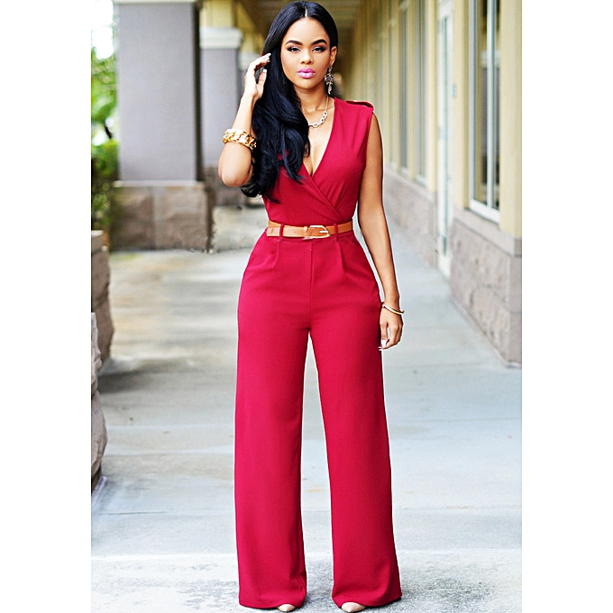 a4d944c4548d Wide Leg Jumpsuit Overalls 2016 Long Trousers Outfits Fashion Women Black  Print Gold Belted Ladies Playsuits