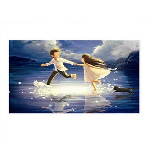 5D DIY Diamond Painting Kit Embroidery Cross Stitch Kit Arts Home Wall Decor Craft (Playing Boy And Girl)