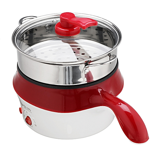 1.8L Double-Layer Stainless Steel Mini Electric Pot Pan Cooker Cooking Fry Stew
