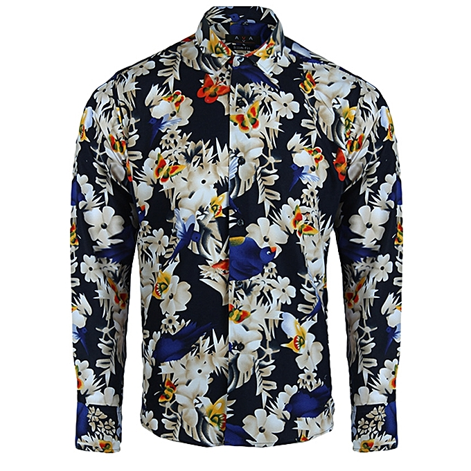 1fa9428b314d AVA Men s Long Sleeve Shirt With Floral Pattern – Multi