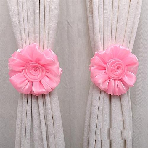 Elegant Home Decoration 1Pair Rose Flower Window Curtain Tieback Buckle Clamp Hook Fastener Pink-Pink