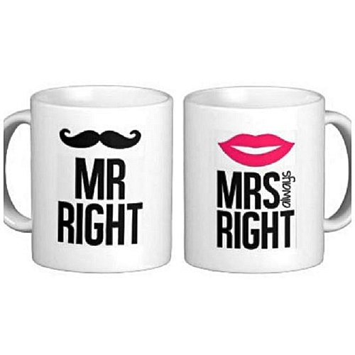 Couple Mr Right Mrs Always Right Printed Mugs