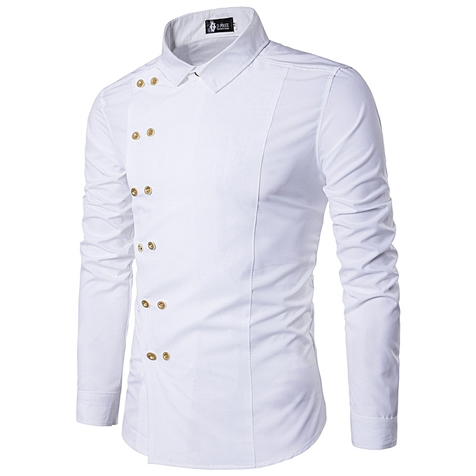 54a70ce32c2 Men Shirt Double Breasted Dress Shirt Long Sleeve Slim Fit Camisa Masculina  Casual Male Hawaiian Shirts