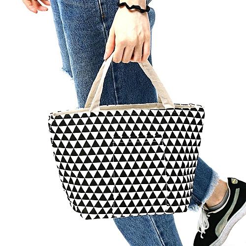 Cotton Linen Zipper Insulated Cooler Lunch Tote Bag Lady Handbag Food Organizer