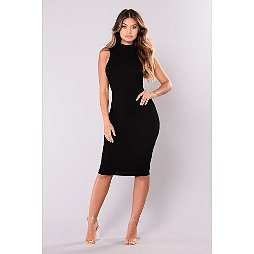 Sleeveless Turtle Neck Midi Dress