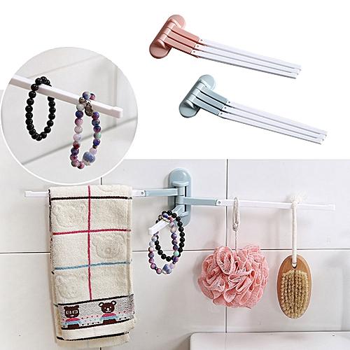 Rotating Hanging Towel Tie Holder Hook Sundry Rack Shelf Multi-Functional